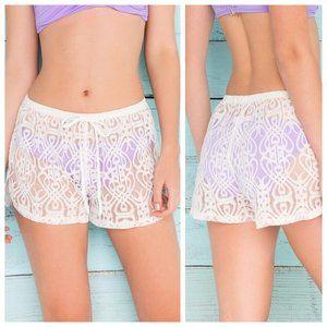 Francesca's Crochet Lace Sheer Shorts Swim Coverup